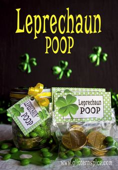 Fill up mason jars with little green candies to make these cute leprechaun poop treats for St. Patrick's Day. Includes free printable treat bag toppers and gift tags.