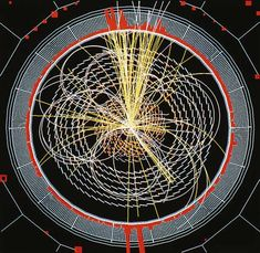 Simulated computer display of the decay of a Higgs boson in the CMS (compact muon solenoid) detector at CERN