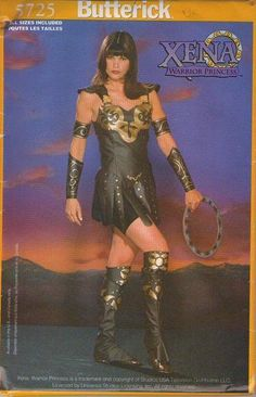 MOMSPatterns Vintage Sewing Patterns - Butterick 5725 Retro 90's Sewing Pattern HOT Official Xena Warrior Princess Gladiator Halloween Costume, Dragon Con, Comic Con Faux Leather Dress with Panels, Boot Covers, Brief Shorts All Sizes