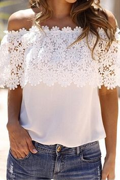 Crochet Flower Spliced Slash Neck Blouse WHITE: Blouses | ZAFUL