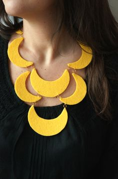 Items similar to Felt necklace, Statement necklace, Yellow necklace, Gift for her on Etsy Felt Necklace, Leather Necklace, Collar Necklace, Leather Jewelry, Handmade Necklaces, Handmade Jewelry, Orange Necklace, Yellow Jewelry, Fabric Jewelry