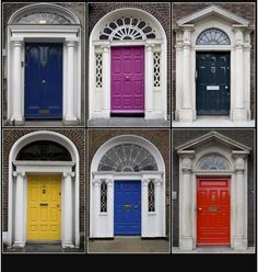 Painted front doors in a rainbow of colors.