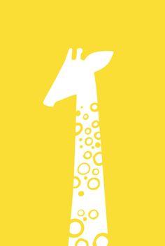 single giraffe portrait 5X7 Giclee print yellow by ThePaperNut, $9.00
