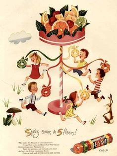 Children Dancing Around The Maypole in 1947 Life Savers Candy vintage ad