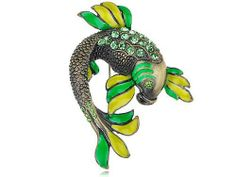 Peridot Green Crystal Rhinestone Jumpin Koi Carp Fish Fashion Costume Pin Brooch Alilang. $9.99