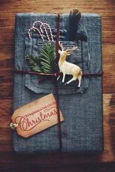 geschenkverpackung basteln aus jeans