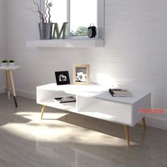 White Retro Coffee Table Scandinavian TV Stand Vintage Room Furniture Wood Legs in Home, Furniture & DIY, Furniture, Tables | eBay!
