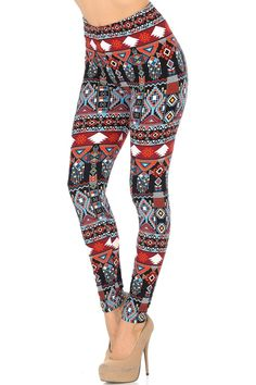 New Arrival Alert! These will be flying off the shelves! Our Brushed Red Tribal Leggings are a beautiful and stylish combination of a flattering red tribal fabric design in an ultra soft brushed cotton! Order your pair today! Printed Leggings Outfit, Tribal Print Leggings, Black Leggings Outfit, Colorful Leggings, Legging Outfits, Tokyo Fashion, Street Fashion, Fashion Over 50, Fashion Black