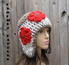 CROCHET PATTERN, Crochet Ear Flap Hat -Easy, Great for Beginners, Patt | EvasStudio - Craft Supplies on ArtFire