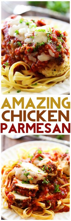 Chicken Parmesan... This recipe is simple and packed with yummy flavor! It is sure to be a hit with the entire family! #maincourse #dinner #recipe #healthy #recipes