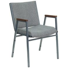 Flash Furniture XU-60154-GY-GG Hercules Series 3-Inch Thickly Padded Gray Upholstered Stack Chair with Arms