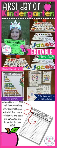 First day of kindergarten activities, lesson plans, ideas, awards, and crowns…
