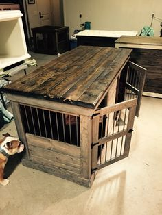 Handcrafted dog kennel and dog crate. Custom dog kennel. Wooden dog kennel. Wire crate. Den for dog. Www.kennelandcrate.com #DogKennel #DogCrate