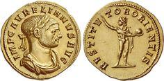 Aurelian (270-275). Aureus, 5.26 g, Siscia, 274-275. IMP C AVRELIANVS AVG. Laureate, draped and cuirassed bust r. / RESTITV – TOR ORIENTIS. Sol standing r., head l., wearing cloak around the shoulders, raising r. hand and holding globe in l. C 214 var. (different bust). RIC 374 (Antiochia). Göbl 219a0. CBN p. 162 and pl. 80, 138. Calicó 4028 (Antiochia). The second specimen known for Siscia. Rare reverse type. A lovely reddish tone. Ex Gemini sale VII, 2011, 835. Good EF. $22.405.