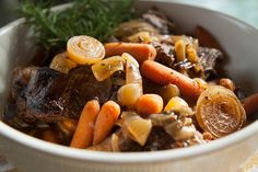 Delicious, easy, healthier balsamic caramelized onion pot roast and carrots