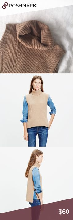 Madewell contour turtleneck layering vest in camel One small pull on knit, but since it's the underside of the turtle neck it will be folded over and can't be seen. A winter wardrobe staple, this supersoft merino wool sweater-vest elevates any outfit with its structured turtleneck, high split sides and contoured ribbing. (Total perfection, in other words.)    Tunic fit. Extrafine merino wool. Dry clean. Import. Item E6034. Madewell Tops