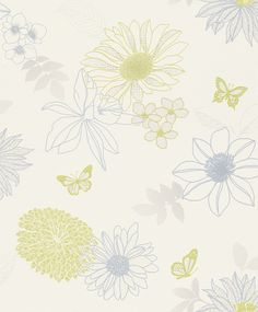 Rasch Personal Affairs Floral Paste the Wall Wallcoverings Blue Lime 432244 Personal Affairs, Beautiful Homes, House Beautiful, Past, Sweet Home, Wallpaper, Floral, Diy, Home Decor