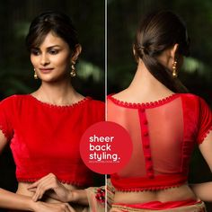 red velvet custom made readymade blouse for saree sheer back womens wear latest blouses colour as per choice upto 54 size stitched - Red velvet custom made readymade blouse for saree sheer back Blouse Back Neck Designs, Fancy Blouse Designs, Indian Blouse Designs, Saree Jacket Designs, Designer Blouse Patterns, Skirt Patterns, Coat Patterns, Sewing Patterns, Stylish Blouse Design