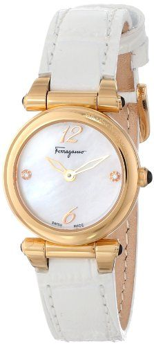 Salvatore Ferragamo Womens F79SBQ5091I SB01 Poema Gold IonPlated Watch with Leather Band and Diamonds -- You can find more watch details by visiting the image link.(This is an Amazon affiliate link and I receive a commission for the sales)