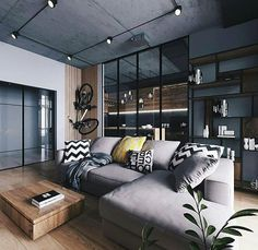 Urban Industrial Decor Tips From The Pros Have you been thinking about making changes to your home? Are you looking at hiring an interior designer to help you? Loft Design, Deco Design, House Design, Interior Design Living Room, Living Room Designs, Living Room Decor, Style Loft, Black Interior Design, Loft Interiors