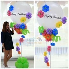 Big balloon with flowers from balloons Balloon Tassel, Balloon Flowers, Balloon Bouquet, Balloon Garland, Balloon Arrangements, Balloon Centerpieces, Balloon Decorations, Birthday Party Decorations, Bubble Balloons
