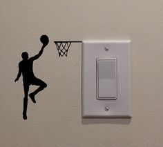 kids living room decor YINGKAI Two Handed Slam Dunk Basketball Player Dunking on Light Switch Decal Vinyl Wall Decal Sticker Art Living Room Carving Wall Decal Sticker for Kids Room Home Window Decoration Wall Painting Decor, Home Decor Wall Art, Room Decor, Wall Decals For Bedroom, Wall Decal Sticker, Wall Stickers, Sticker Citation, Basketball Wall, Man Cave Home Bar