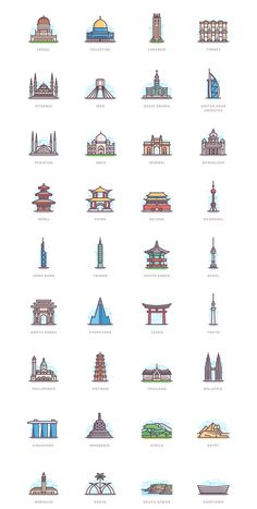 332 landmarks on behance flat illustration, city icon, doodle icon, icon set, Story Instagram, Instagram Logo, City Drawing, City Icon, Buch Design, Travel Illustration, Flat Illustration, Insta Icon, Kunst Poster