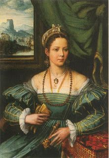 'Portrait of a Woman' circa 1530-Italian gown of the period.