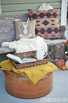 I love this so much!! What a cute way to decorate your porch!