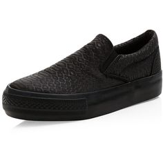 Black Snakeskin Print Flatform Plimsolls ($22) ❤ liked on Polyvore featuring shoes, sneakers, black flatforms, black slip on sneakers, flatform sneakers, black trainers and canvas sneakers