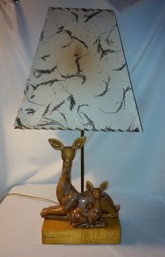 1953-1954-Royal-Haeger-Doe-And-Young-Lamp-With-Original-Shade-Deer-Fawn