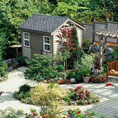 Garden Shed Right in the center of things, this garden shed is an important part of the garden plan. Architectural elements, such as lattice fencing, Backyard Fences, Garden Fencing, Garden Sheds, Pergola Garden, Backyard Buildings, Fence Landscaping, Pool Fence, Diy Pergola, Chickens Backyard