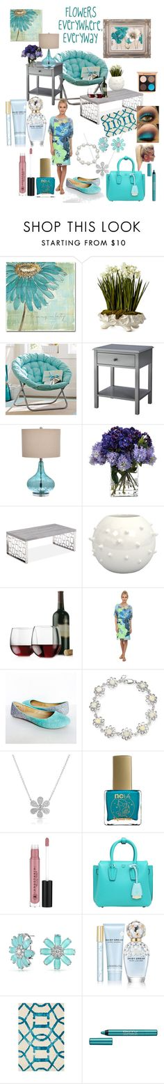 """Flowers are Everywhere"" by snowflakeunique ❤ liked on Polyvore featuring interior, interiors, interior design, home, home decor, interior decorating, Trademark Fine Art, John-Richard, PBteen and Threshold"
