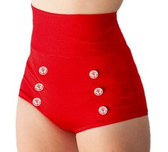Skipper Super High Waisted Red Sailor Bikini by FablesbyBarrie, $54.00