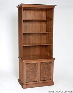 Custom Walnut Bookcase With Lower Cabinet