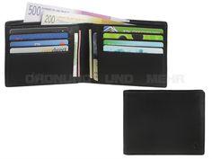 Esquire SLIM - Flache Leder Geldbörse (12KF) ohne Münzfach Portemonnaie Geldbeutel quer - schwarz