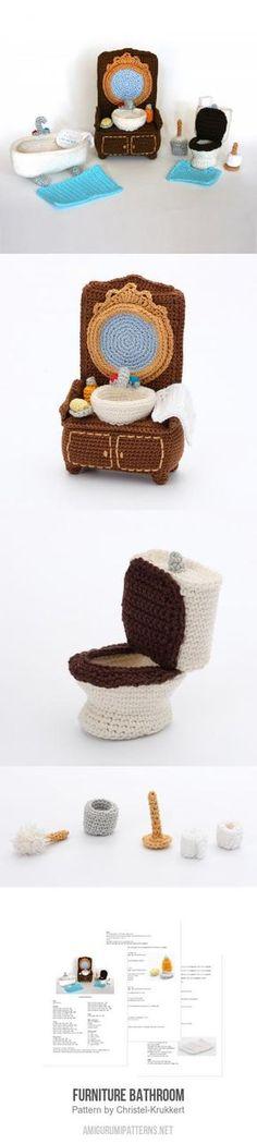 An amigurumi toilet! Crochet Game, Crochet Diy, Crochet Crafts, Knitted Dolls, Crochet Dolls, Yarn Projects, Crochet Projects, Amigurumi Patterns, Crochet Patterns