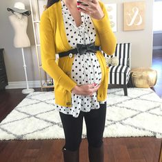 Mustard cardigan and polkadots | Curvy Outfit Ideas | Petite Outfit Ideas | Plus Size Fashion | Fall Fashion | OOTD | Professional Casual Chic Fashion and Style Inspiration