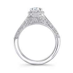 Cushion Cut Pave Antique Style Milgrain Engagement Ring by CutCarat  Starting at $2250.00