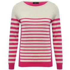 M&Co Colour Block Striped Jumper ($28) ❤ liked on Polyvore featuring tops, sweaters, plum, colorblock sweater, white sweater, color block sweater, white long sleeve sweater and jumpers sweaters