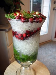 """Use plastic wrap to create snowy/icy Christmas centerpieces"""