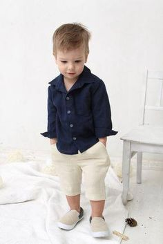 Baby Boy dress shirt Wedding party birthday by mimiikids Boys Toddler Fashion Baby Outfits, Boys Summer Outfits, Summer Boy, Toddler Outfits, Kids Outfits, Summer Pants, Outfit Summer, Dress Summer, Summer Clothes