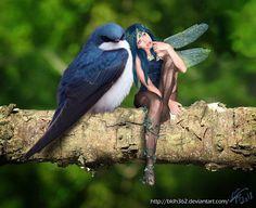 Fairy and blue bird Fairy Dust, Fairy Land, Fairy Tales, 3d Fantasy, Fantasy World, Magical Creatures, Fantasy Creatures, Art Magique, Kobold