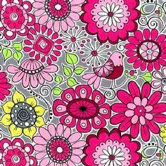 Cotton Quilt Fabric Keepsake Calico Breezy Blossom Florals Birds Pink Gray 1/2 Yard