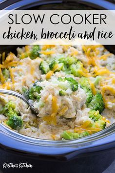 Slow Cooker Chicken, Broccoli and Rice Casserole This Crock Pot Chicken, Broccoli Rice Casserole is a healthy family dinner that's easy to make! Made from scratch with chicken, brown rice, broccoli and cheese. One of our favorite slow cooker recipes! Crockpot Rice Recipes, Casserole Recipes, Healthy Recipes, Chicken Broccoli Rice Casserole, Easy Crockpot Chicken And Rice Recipe, Broccoli And Rice, Crock Pot Rice, Chicken Casserole Slow Cooker, Crockpot Brown Rice