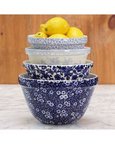 Bake with the best of them using these patterned mixing bowls! Get them here: http://www.bhg.com/shop/stonewall-kitchen-burleigh-cobalt-mixing-bowls-p507fef0182a7862e65d447cc.html?mz=a