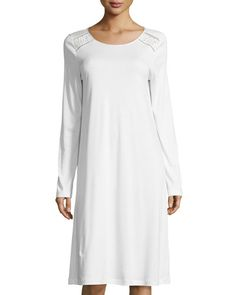 Franca Lace-Inset Long-Sleeve Nightgown, Off White