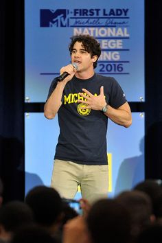 April 26, 2016 Darren Criss speaks onstage during the 3rd Annual College Signing Day at the Harlem Armory in New York City. The event, co-hosted by MTV, was part of First Lady Michelle Obama's Reach Higher initiative which encourages young people to continue their education past High School.