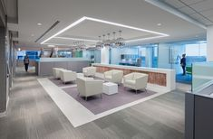 OTJ Architects has developed a new office design for SunEdison located in Bethesda, Maryland. Corporate Interior Design, Corporate Interiors, Commercial Interior Design, Commercial Interiors, Office Interiors, Workspace Design, Design Offices, Office Ceiling, Real Estate Office