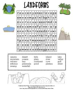 It's a fun landforms' word search!!  If your students are like mine, they love these.  I use them to introduce vocabulary, or even just give it as ...
